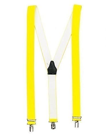 Neongelber hochwertiger Hosenträger mit 3 Clips Klips Y-Form Männer Damen Hose Jeans Fasching Oktoberfest Fassnacht Karneval neonorange neon gelb