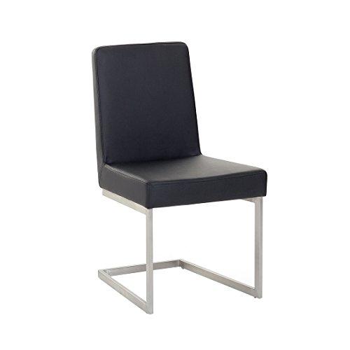Chaise de salle à manger - acier inox et cuir - noir - Arctic