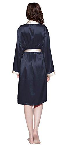 LILYSILK Robe de Chambre en 100% Soie Femme au Genou Bordure Crème 22 Momme Bleu Marine