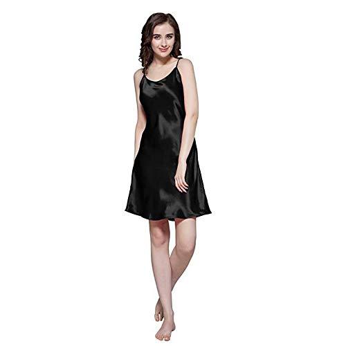 OLLOLCCY 100er Seidennachthemd Kurzes Chemise Nachthemd Damen Mädchen 19 Momme Pure Mulberry Silk Charmeuse,Black,M - Charmeuse Nachthemd
