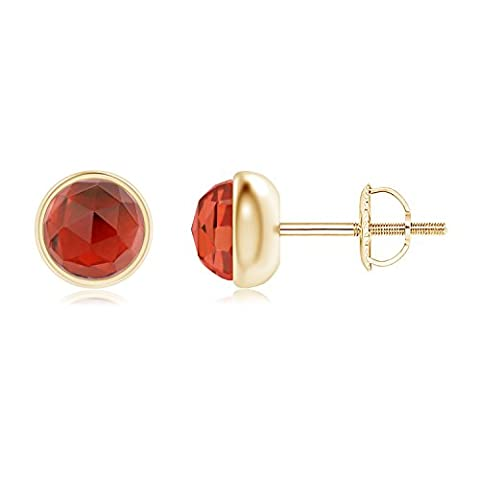 Bezel Set Garnet Solitaire Stud Earrings in 14K Yellow Gold