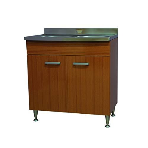 Mobile cucina 2 ante completo di lavello inox 80, 2 vasche sottolavello componibile