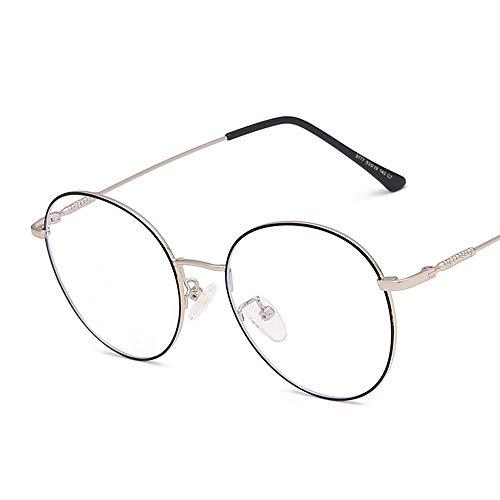 Rahmen Unisex Anti-Blue Light Flat Brillen Rahmen Brillen Small Face Round Frame Retro Myopie Brillen Brille (Color : 02 schwarz, Size : Kostenlos)