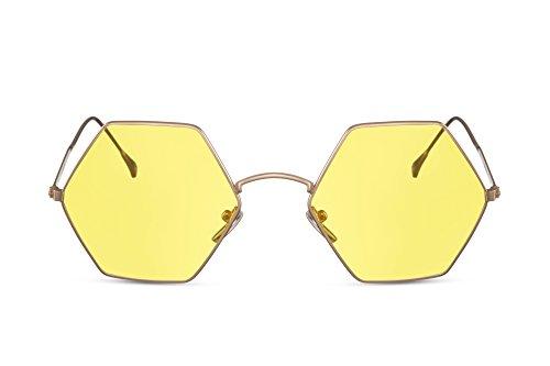 Cheapass Sonnenbrille XXL Gold-en Gelb-e Gläser Eckig-er Metall-Rahmen UV-400 Damen Frauen