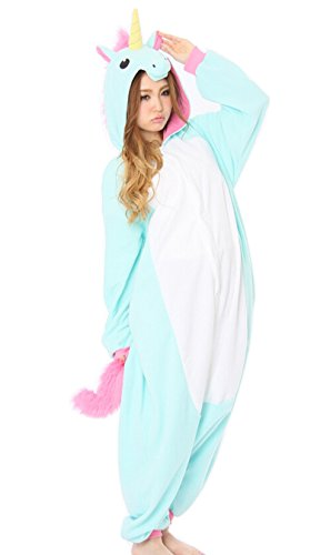 Animal-Kigurumi-Pijamas-Unisexo-Adulto-Traje-Disfraz-Animal-Pyjamas-rosado-del-unicornio