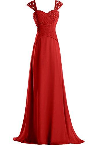 Missdressy Damen Elegant Chiffon Falte Traeger Abendmode Lang Berautbegeleiterinkleid Partykleider Abendkleider Rot