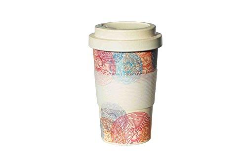 happy-to-go Mehrwegbecher auf Basis natürlicher Rohstoffe | Coffee-to-go mit praktischem Schraubverschluss | lebensmittelecht (Labor getestet) | Spülmaschinen geeignet | 400 ml