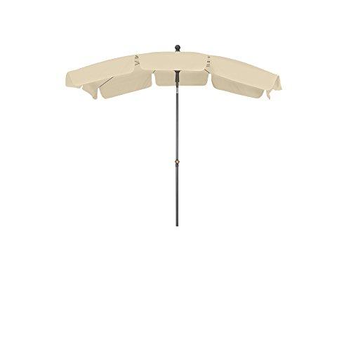 Siena Garden Mittelstockschirm Tropico durch Push-Up-System leicht zu öffnen Größe 2,1x1,4 m in silber-natur