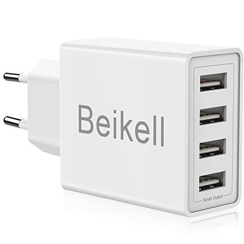 Beikell caricatore usb, caricatore usb da muro a 4 porte 5a / 25w con tecnologia smart-adaptive di ricarica rapida