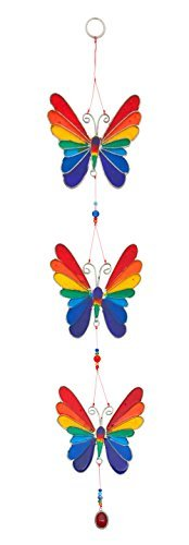 Rainbow Butterfly Stained Glass Sun Catcher Mobile - Beautiful Window Hanging - Home Decoration by Suncatchers