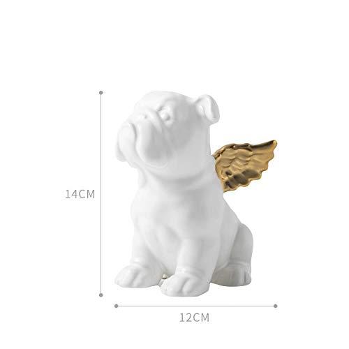 FCFLXJ Abstraktion Tier Hund Statue Bulldog Engel Sonnenbrille Keramik Art & Craft Büro Wohnzimmer Desktop Dekoration, cremeweiß