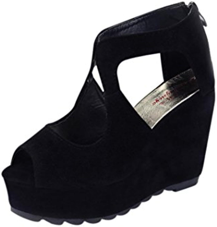 0376ee1f3d6fa1 la bouche de poisson l'été les les les femmes des sandales, des escarpins à talons  de chaussures la cheville coins chaussures sandales de plage...b079gl942p  ...