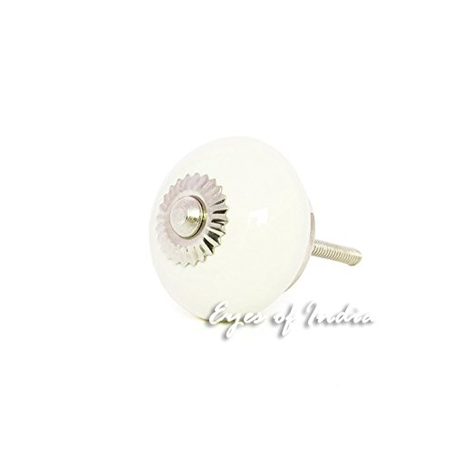 Eyes of India Keramik Schrank Kommode Schrank Tür Griffe ziehen dekorativ Shabby Chic Bunt Boho unkonventionell - weiß #1 (Cabinet Ziehen Weiß)