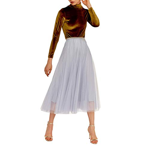 KPPONG Frauen Tüllrock Maxiröcke Knielang Tüll Tutu Rock Ausgestellter Petticoat Unterrock Tanzkleid