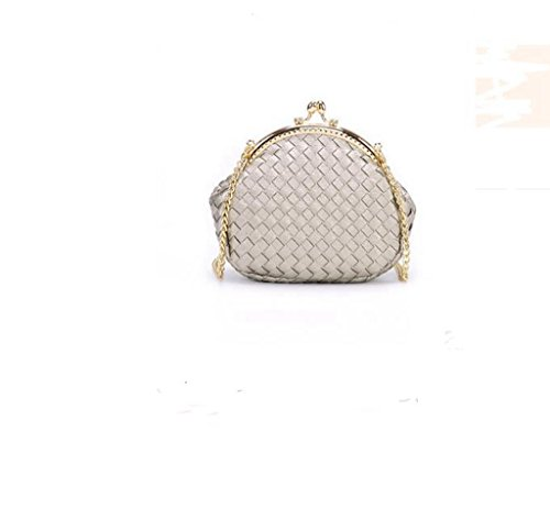 Mini Plaid sacchetto chain tessuta, spalla signora, pacchetto diagonale, polpette Frizione Silver gray