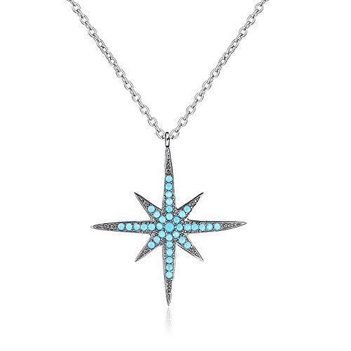 WOFEIYL Lady Es Starfish Pendant S925 Sterling Silberschmuck Türkis Polaris Joker Halskette