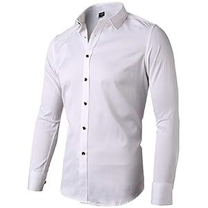 INFLATION Herren Hemd aus Bambusfaser umweltfreudlich Elastisch Slim Fit für Freizeit Business Hochzeit Reine Farbe Hemd Langarm Herren-Hemd, Gr XXS-2XL, 15 Farben