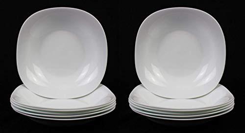 Fitting Gifts Bistro Collection Assiettes Creuses Parma Légèrement Carrées, Blanc Brillant (12 Pièces)