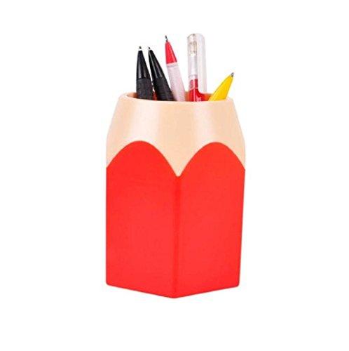 Sannysis Portalápices, Bote para lápices diseño del lápiz (Rojo)