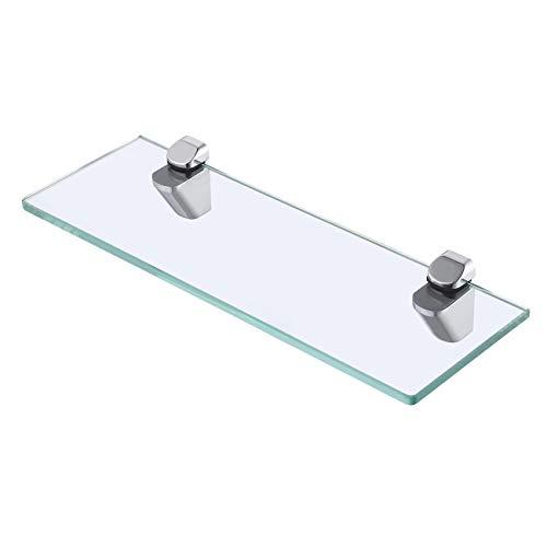 KES Bad Glasablage Gehärtes Glas (8mm, 14-Zoll, 35CM) mit Wandhalterung, Chrom Poliert, BGS3202S35