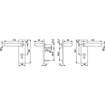 Oberfl/äche: Alu F2 neusilberfarbig Ausf/ührung: Dr/ückergarnitur Hoppe Langschild-Garnitur Birmingham Lochung: PZ
