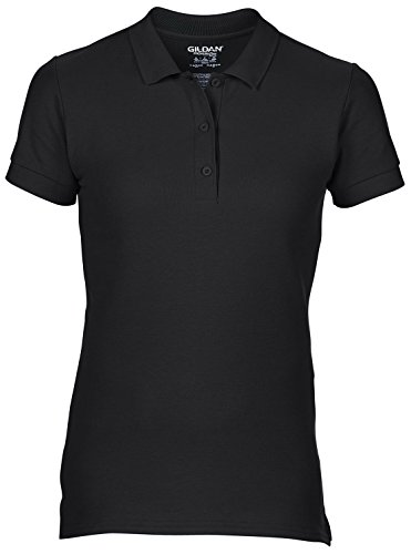 Womens Premium Cotton Double Pique Polo Shirt by Gildan - 13 Colours Black