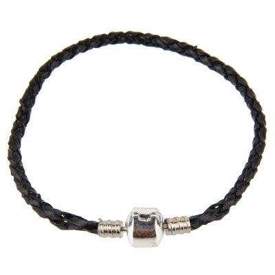 Bracelet Pandore en cuir noir 19 cm