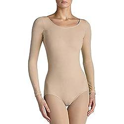 Elegance1234 pour Femmes Neuf QUALITÉ Roundneck Manches Longues Peau Couleur Combinaison(2340) (M, Beige(Tan))