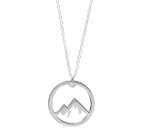 Halskette Bergsteiger Berge Rund Kreis Silber Damen Herren Schmuck
