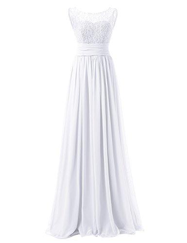 Dresstells Robe de demoiselle d'honneur longue forme empire en mousseline dentelle Blanc
