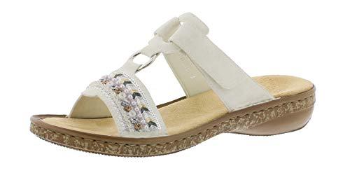 Rieker Damen Frühjahr/Sommer Pantoletten, Weiß (Ice 80), 39 EU (Damen Schuhe Flache)