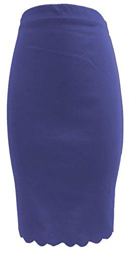 New Womens Scallop Laser Cut Bodycon Midi Pencil Skirts ( Royal Blue , UK 8-10 / EU 36-38 ) (Pencil Blue Royal Skirt)