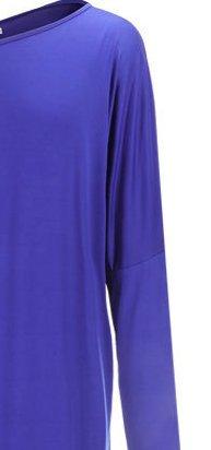 Damen Maxikleid Kleid Freizeitkleid Oblique O Ausschnitt Langarm Irregular Die Neue Geöffnete Gabel Trägerlos Uni-Farben Sommer Einteiler 2017 Blau