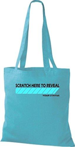 Shirtstown humoristique inscriptions en pochette scratch here to your reval statut de nombreuses couleurs Bleu - sky