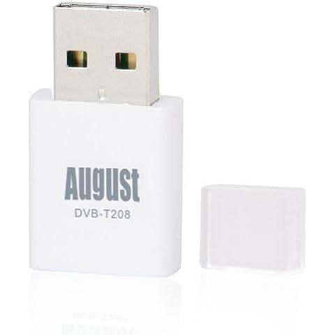 August DVB-T208 Sintonizador TDT para Ordenadores - Receptor USB (DVB-T) de Televisión Digital para Ordenadores de sobremesa y Portátiles - Grabador PVR – Compatible con Windows 10 / 8 / 7 / Vista / XP y Apple