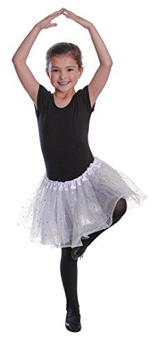Kind Butterfly Ballerina Kostüm - Bristol Novelty BA006 Röckchen mit paillettenbesetzten Sternen, Weiß