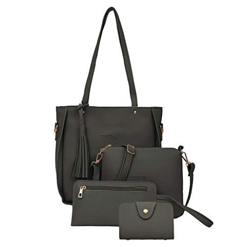 KaloryWee Frauentasche 2019 Neue Mode Vierteilige Umhängetasche Brieftasche Handtasche Damen Messenger Bag Clutch Bag Coin Purse 4 Sets Rucksackhandtaschen Schultertaschen (One Size, Dunkelgrau)