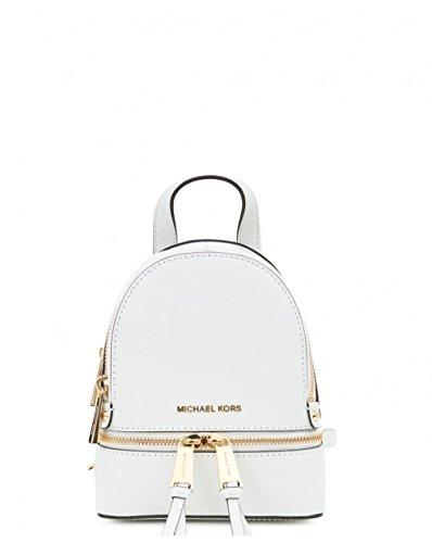 Sac à Dos De Michael Kors Rhea Mini Optique Blanc Cuir Double Zip White Leather