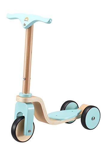 *BIKESTAR® Kinder Scooter Roller für natürliche Spielfreude ab 3 Jahren ★ Natur Holz Edition ★ Himmel Blau*