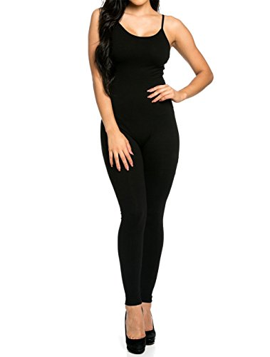 CoCo Fashion Damen Jumpsuit Ärmeloses Overall Spielanzug Spaghettiträger Hosen lang (EU 36, (Jumpsuit Schwarzer)