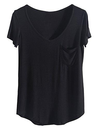 iClosam Tshirts Damen Sommer Casual Elegante 2018 Tunika Top V Ausschnitt mit Tasche. (Large, schwarz) -