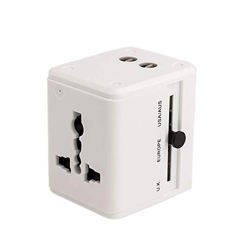 GYLFDC Universal-Reiseadapter, Dual-USB-Umwandlungsstecker, Multifunktions-Reisestecker, Universal-Smart-Plug-Konverter-Steckdose für USA AUS UK Europe,White