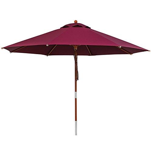 anndora 35005 Sonnenschirm, dunkelrot, 350 cm rund, Gestell Holz, Bespannung Polyester, 13.5 kg