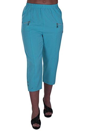EyeCatch - Frauen Capri Crop Pants Stretch Flexi Plus Sizes Damen 3/4 Hose Aqua Blue Size 40 -