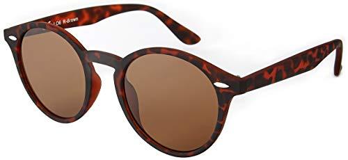 La Optica UV 400 Damen Herren Retro Runde Sonnenbrille Round - Einzelpack Rubber Braun Horn (Gläser: Grau)