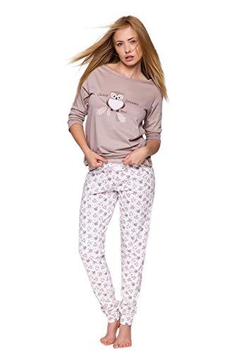 SENSIS Edler Baumwoll-Pyjama Hausanzug aus schickem Oberteil und toller Hose, Made in EU (S (36), Mokka/weiß mit Eulen)