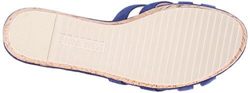 Nine West Caserta Suede Platform Sandal Dark Blue