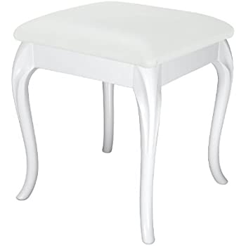 White Cabriole Dressing Table/ Foot Stool With White Faux Leather Cushion