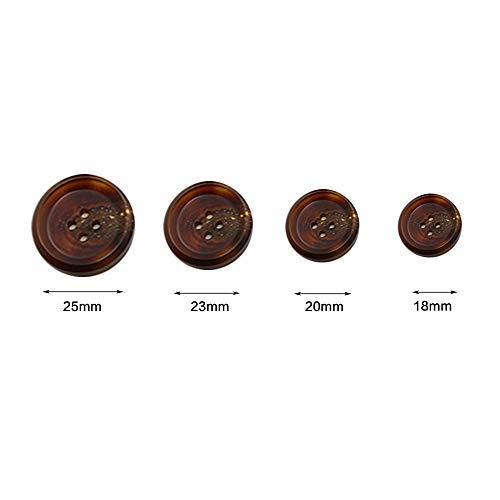 Lvcky 20 Stück Harz-Imitation Horn dünne Runde Knöpfe für Mantel, Anzug, Jacke, Braun, 25 mm - Ein-knopf-anzug-jacke