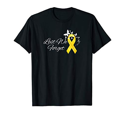 Childhood Cancer Gold Ribbon Awareness Butterfly Remembrance T-Shirt -